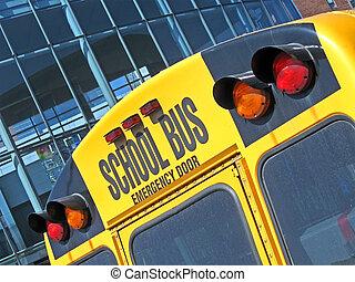 emergency door on yellow school bus, security details