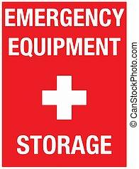 Emergency Equipment Storage Wall Sign Vector illustration eps 10