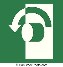 Turn anti-clockwise to open - Emergency escape sign vector -...