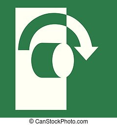 Turn clockwise to open - Emergency escape sign vector - Turn...