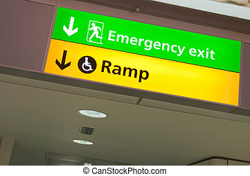Emergency exit and ramp access sign