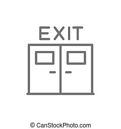 Emergency exit door line icon. Isolated on white background
