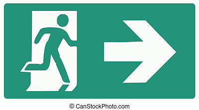 emergency exit green label - isolated vector illustration