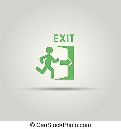 Emergency exit green sign with man silhouette