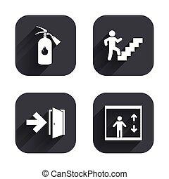 Emergency exit icons. Door with arrow sign.