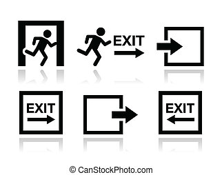 Emergency exit icons vector set - Danger, Emergency exit,...