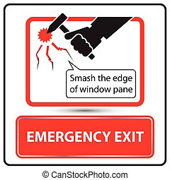 Emergency exit label for bus vector