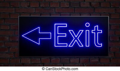 Emergency exit light neon. Hotel icon. Escape sign. ...