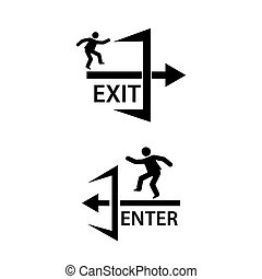 Emergency exit only sign . Creative lettering vector illustration. illustration in vector format.
