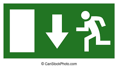 Emergency exit sign isolated on white