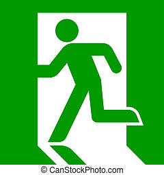 Emergency exit sign - Green emergency exit sign or symbol;...