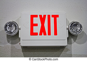 Emergency exit sign with lights