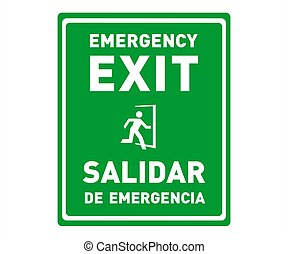 Emergency Exit Sign in English and Spanish Language - Bilingual Safety Sign and Poster
