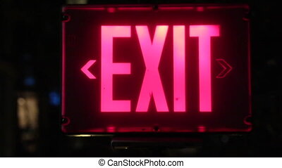 Emergency exit sign night