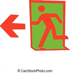 emergency exit sign on a white background