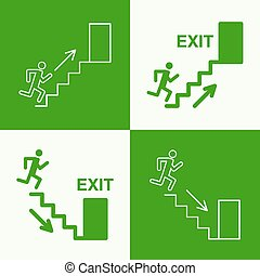 Emergency exit sign. Running man on a green background....