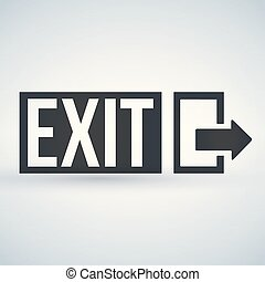 Emergency Exit sign, vector illustration isolated on white background.