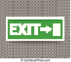 Emergency Exit Sign with Green Color on transparent background.