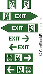 emergency exit signs vector illustration