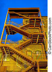 emergency exterior stair case on side of building