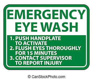 Emergency Eye Wash Instructions Sign Isolate On White Background, Vector Illustration