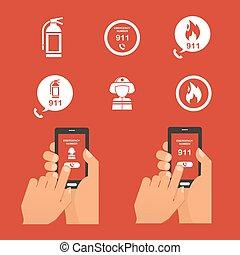 Emergency fire alert via telephone. Set of   Icon