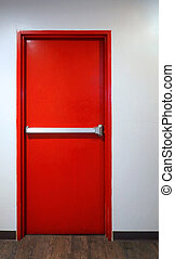 Emergency fire exit door red color.