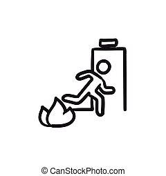 Emergency fire exit door sketch icon.