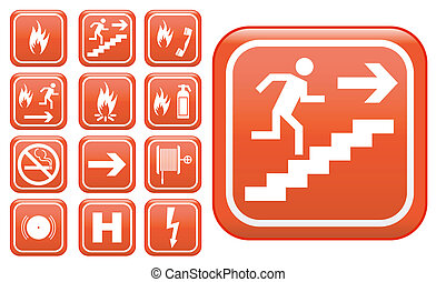 Emergency fire safety signs