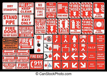 Emergency Fire Sings - Vector pack of different Fire ...