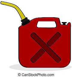 Cartoon illustration showing a red fuel container