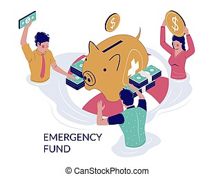 Emergency fund vector concept for web banner, website page