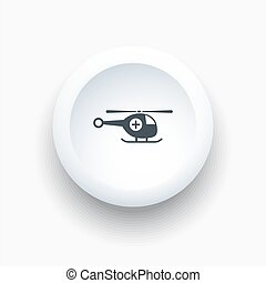 Emergency helicopter icon on a white button