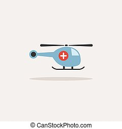 Emergency helicopter icon with shade on a beige background