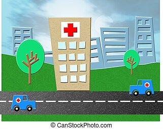 Emergency Hospital - Hospital emergency unit with ambulances...