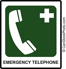 Emergency hospital telephone safety signs.