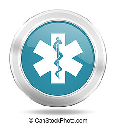 emergency icon, blue round glossy metallic button, web and mobile app design illustration