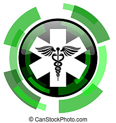 emergency icon, green modern design isolated button, web and mobile app design illustration