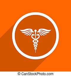 emergency icon. Orange flat button. Web and mobile app design illustration