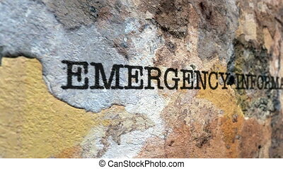 Emergency information grunge concept