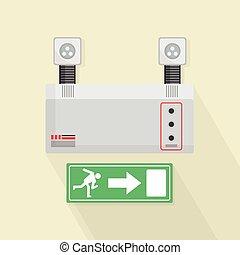 Emergency Lights and Exit Door