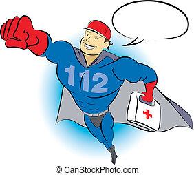 Emergency Man - 112 Man - flying superhero medical lifeguard