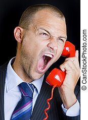 Emergency - Man shouting into a red telephone