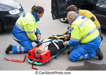 Emergency medical services - Paramedics and a fireman...