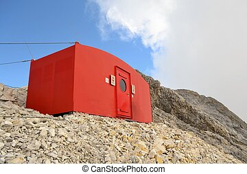 Brand new emergency shelter for mountaineers, called a bivouac on the Jubilaeumsgrat in Wetterstein Alps near Zugspitze, Germany