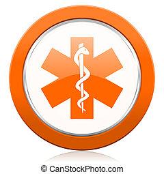 emergency orange icon hospital sign
