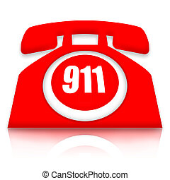 Red 911 emergency telephone on white backgorund