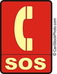 Emergency Phone Sign - 2d render of red SOS sign isolated on...