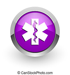emergency pink glossy web icon