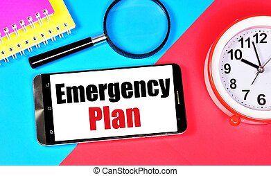 Emergency plan. Text message on the smartphone screen.